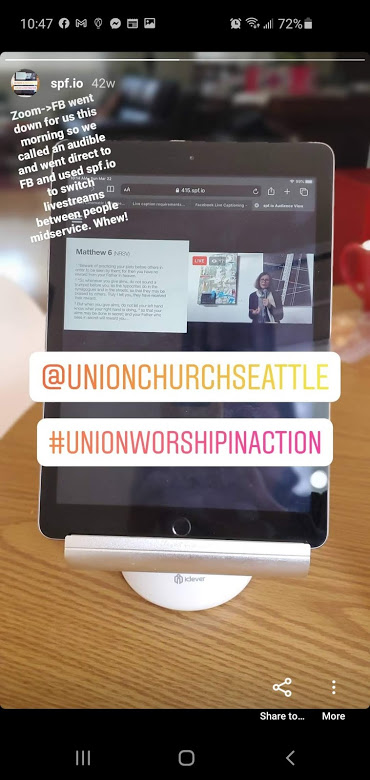 An image of an instagram story showing a virtual church service that seamlessly switched from FB Live to Youtube mid-service using spf.io